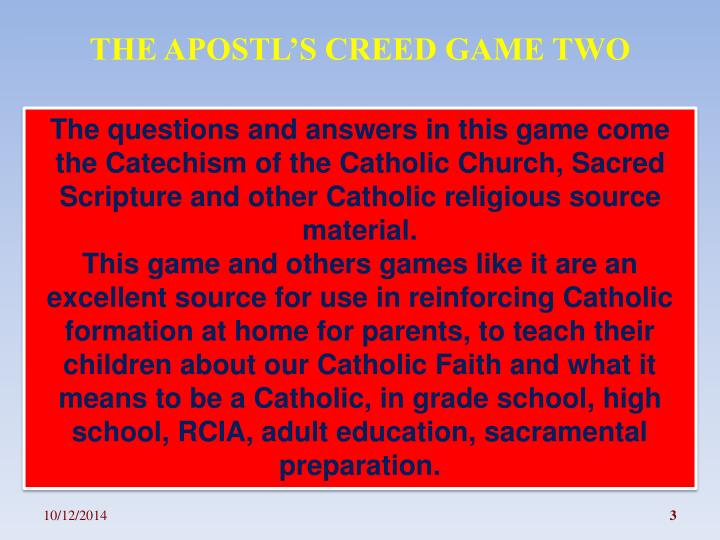THE APOSTL'S CREED GAME TWO