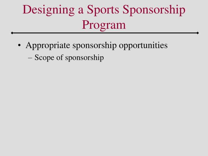Designing a Sports Sponsorship Program