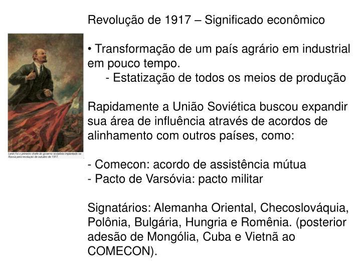 Revolução de 1917 – Significado econômico