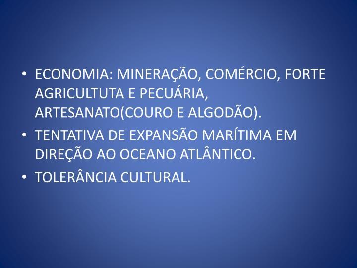 ECONOMIA: MINERAÇÃO, COMÉRCIO, FORTE AGRICULTUTA E PECUÁRIA, ARTESANATO(COURO E ALGODÃO).