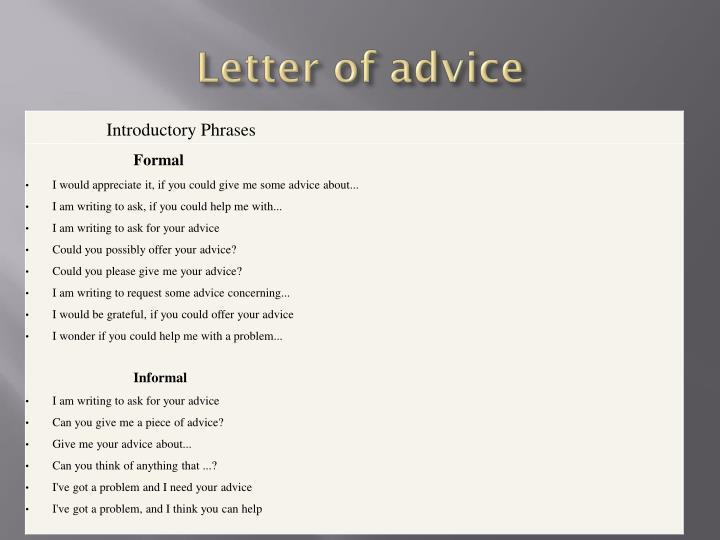 Letter of advice