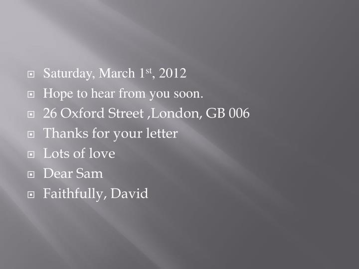 Saturday, March 1