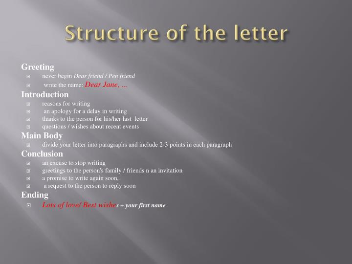 Structure of the letter