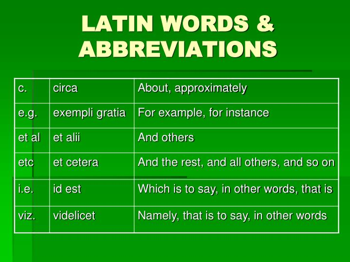 LATIN WORDS & ABBREVIATIONS