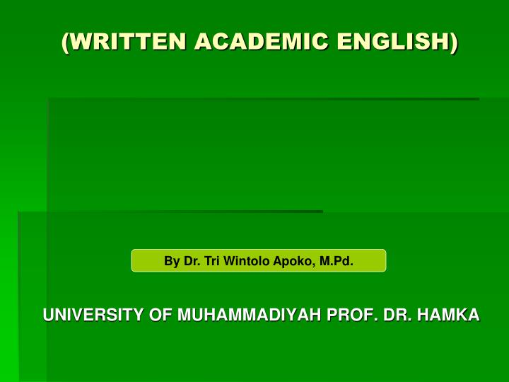 Written academic english