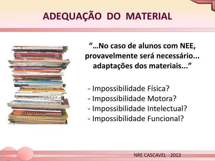 """""""…No caso de alunos com NEE, provavelmente será necessário... adaptações dos materiais..."""""""