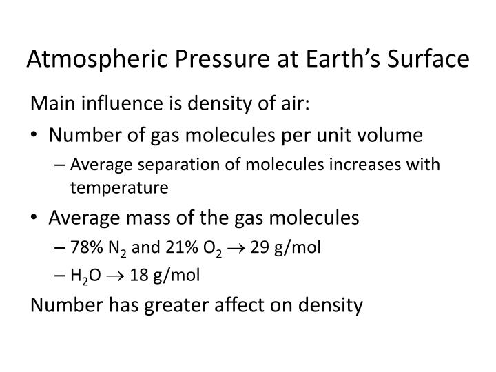 Atmospheric Pressure at Earth's Surface