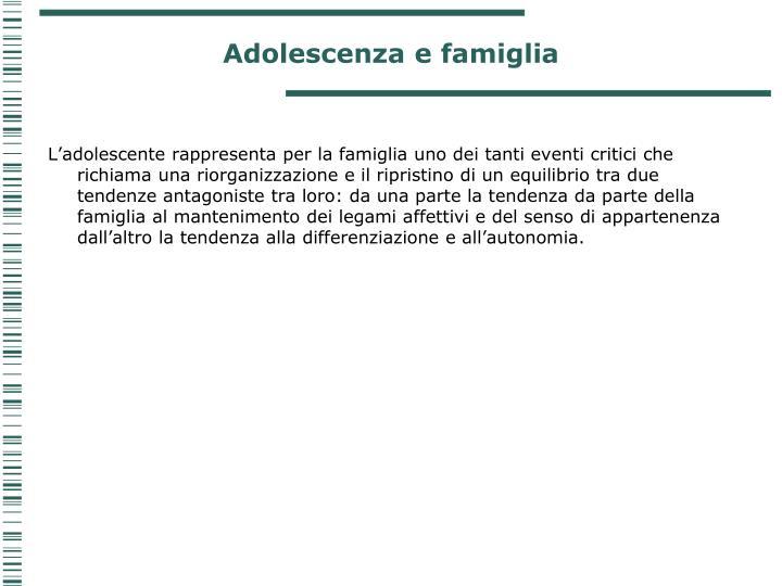 Adolescenza e famiglia