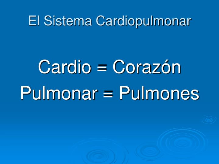 El Sistema Cardiopulmonar