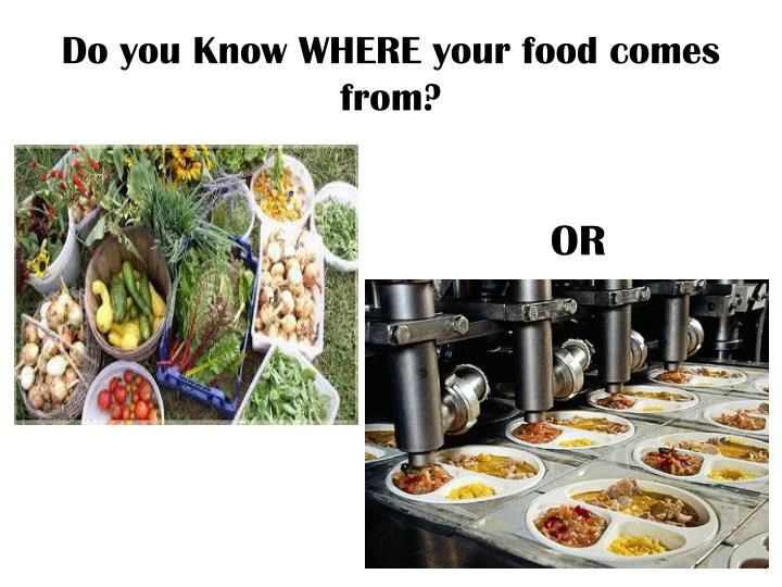 Do you Know WHERE your food comes from?