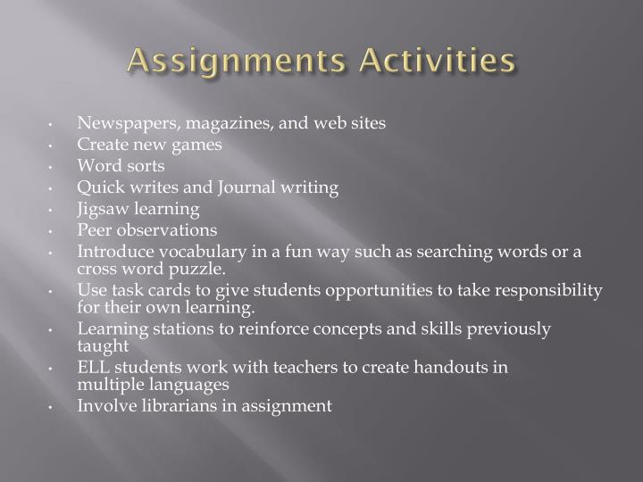 Assignments Activities