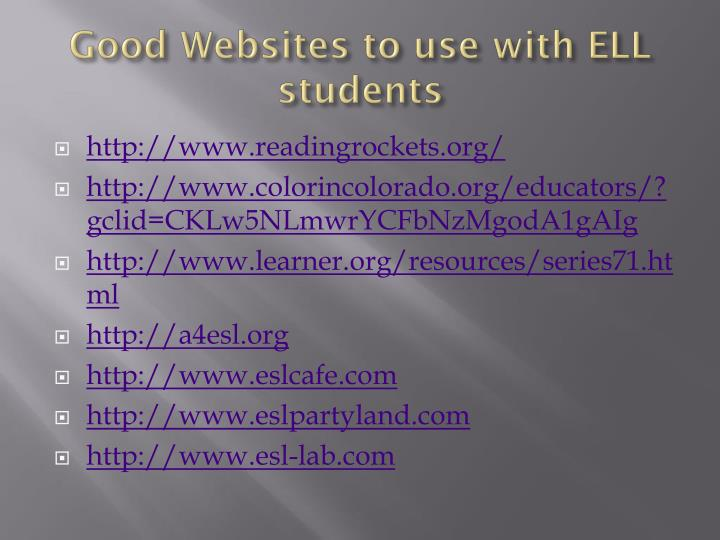 Good Websites to use with ELL students