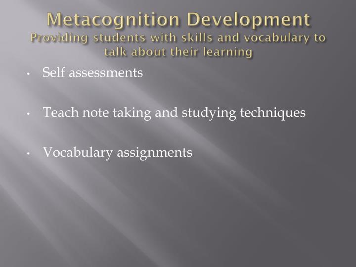 Metacognition Development