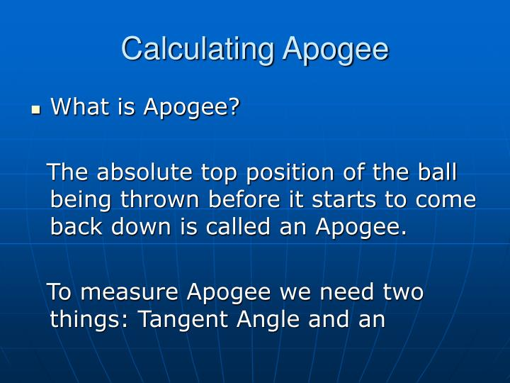 Calculating Apogee