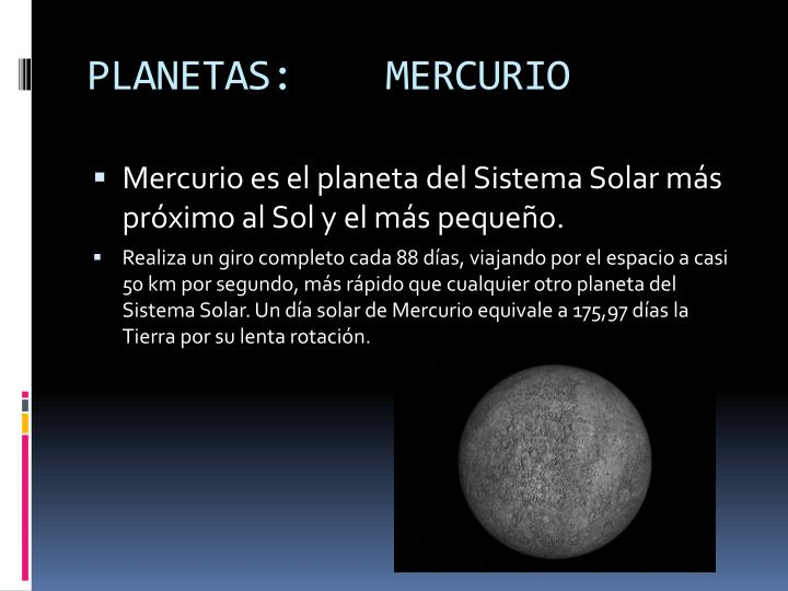 PLANETAS:    MERCURIO