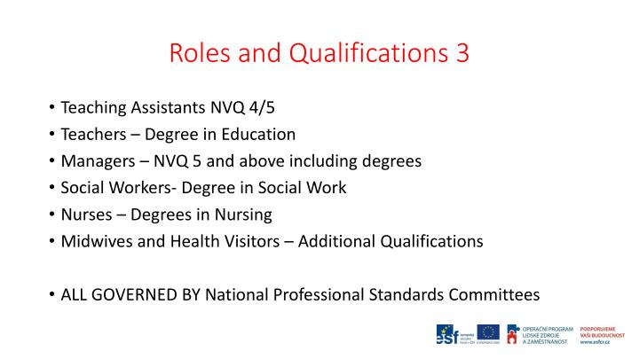 Roles and Qualifications 3