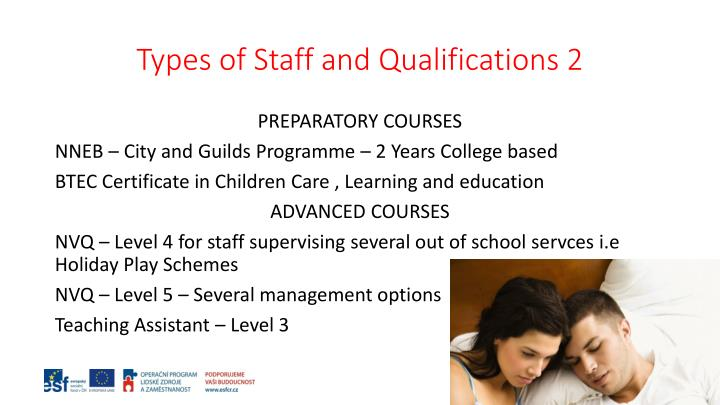 Types of Staff and Qualifications 2