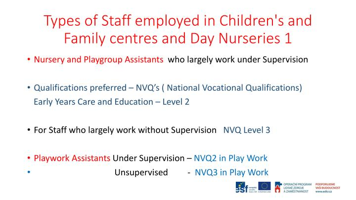 Types of Staff employed in Children's and Family centres and Day Nurseries 1