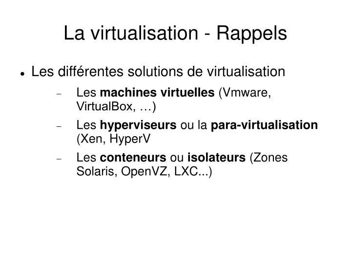 La virtualisation - Rappels