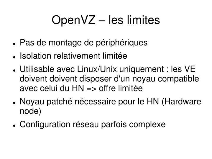 OpenVZ – les limites
