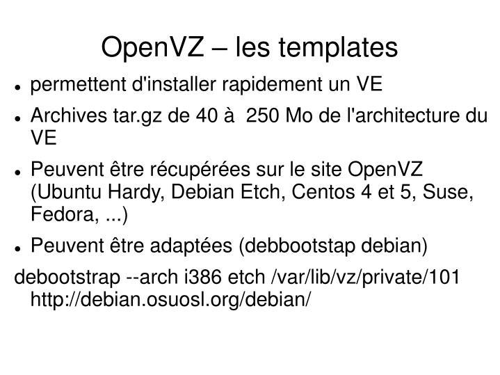 OpenVZ – les templates