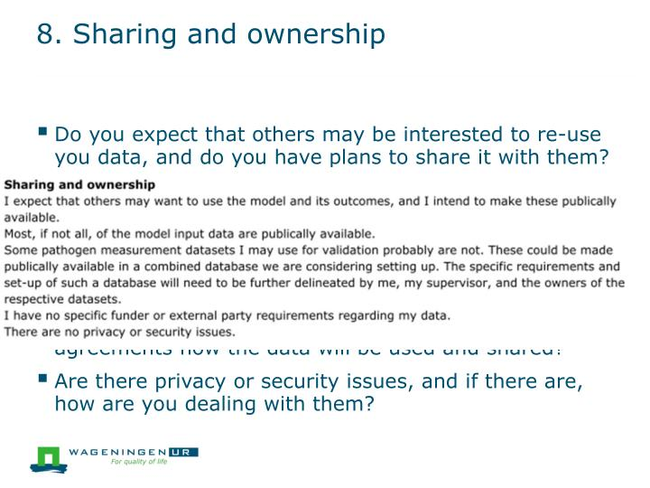8. Sharing and ownership