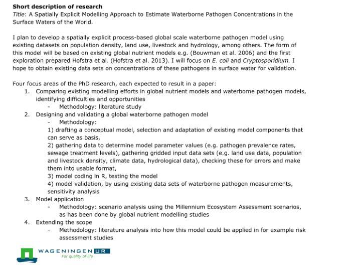 Short description of your research
