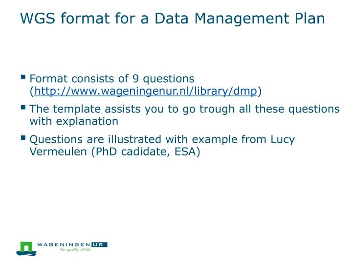 WGS format for a Data Management Plan