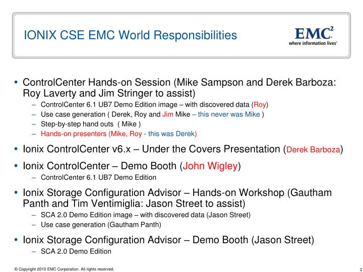 Ionix cse emc world responsibilities