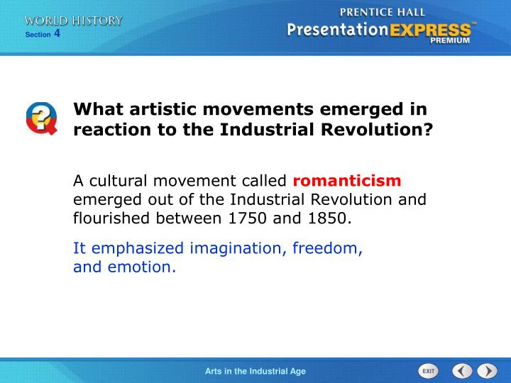 What artistic movements emerged in reaction to the Industrial Revolution?
