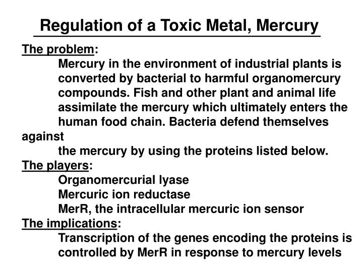 Regulation of a Toxic Metal, Mercury