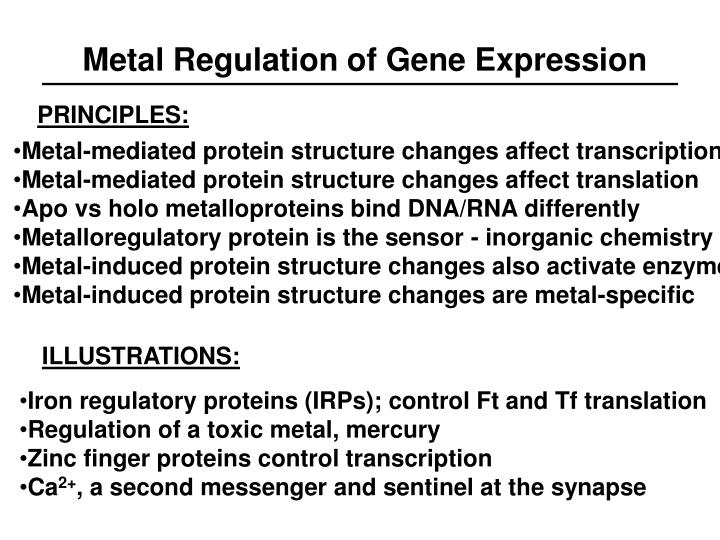 Metal Regulation of Gene Expression