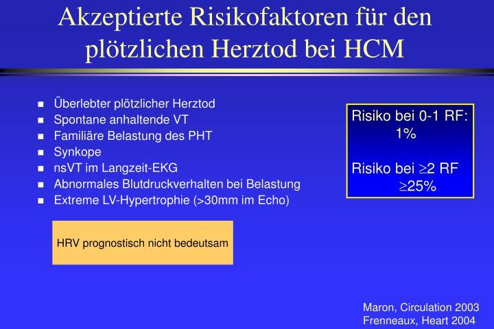 Akzeptierte Risikofaktoren für den plötzlichen Herztod bei HCM