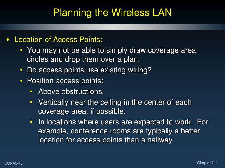 Planning the Wireless LAN