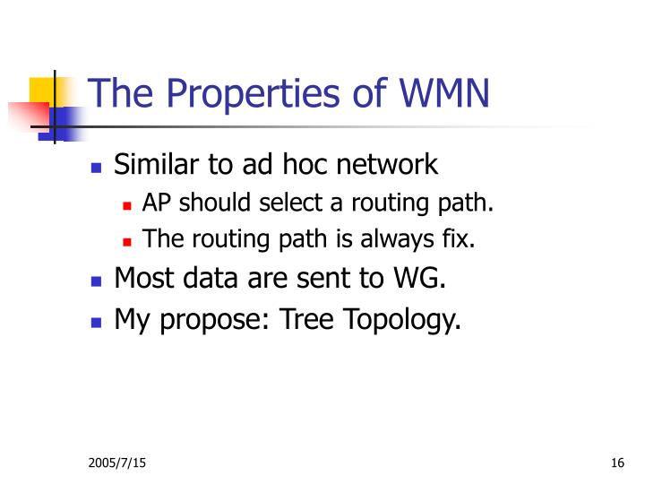 The Properties of WMN