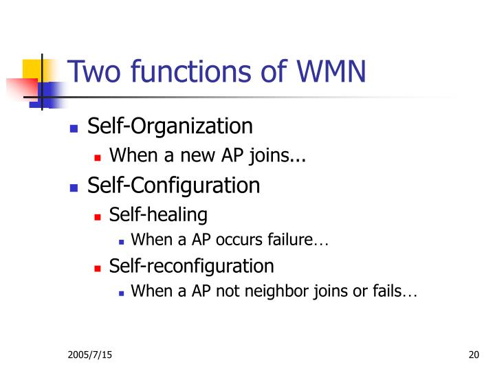 Two functions of WMN