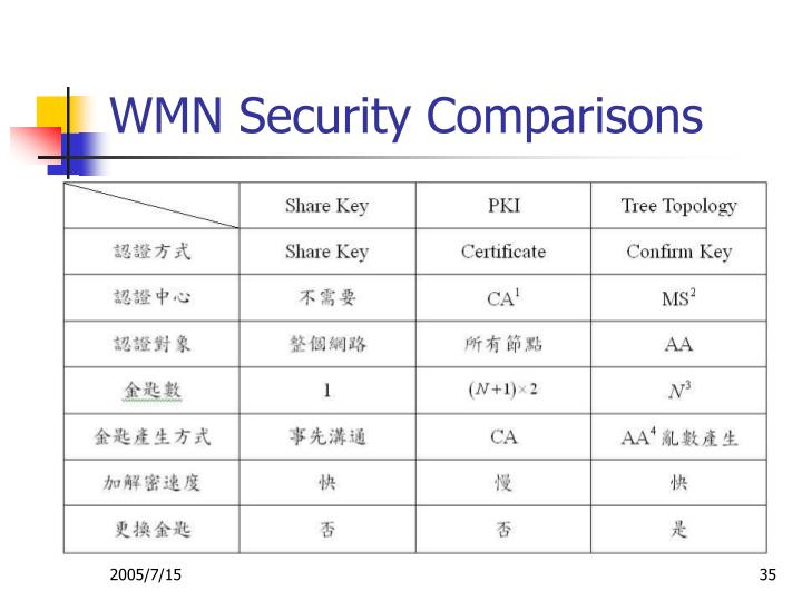 WMN Security Comparisons
