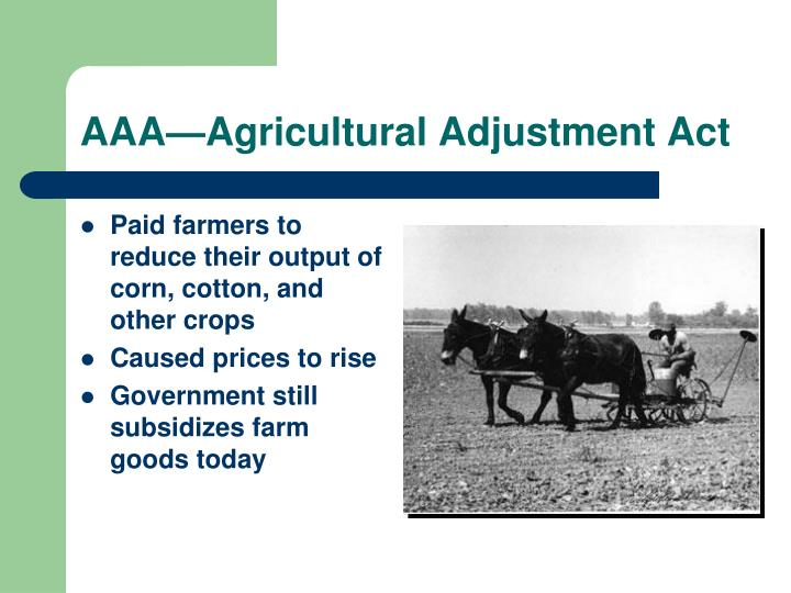 AAA—Agricultural Adjustment Act