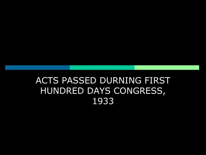 ACTS PASSED DURNING FIRST HUNDRED DAYS CONGRESS, 1933