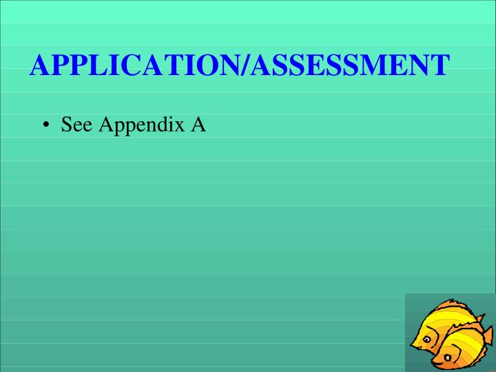 APPLICATION/ASSESSMENT