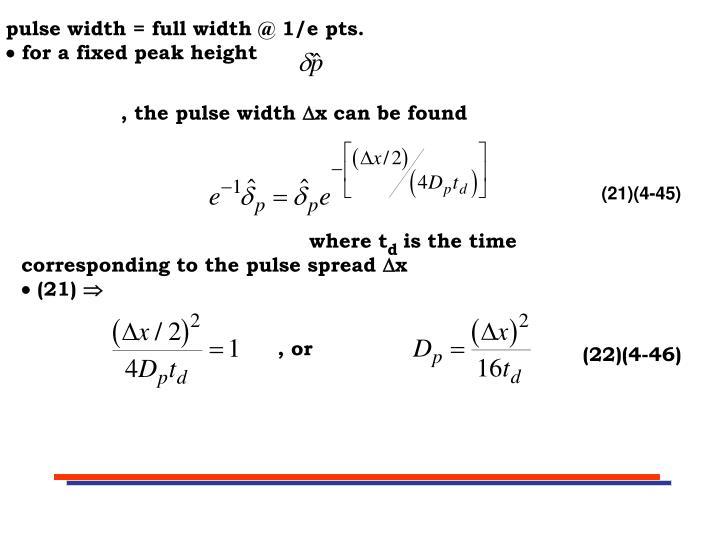 pulse width = full width @ 1/e pts.