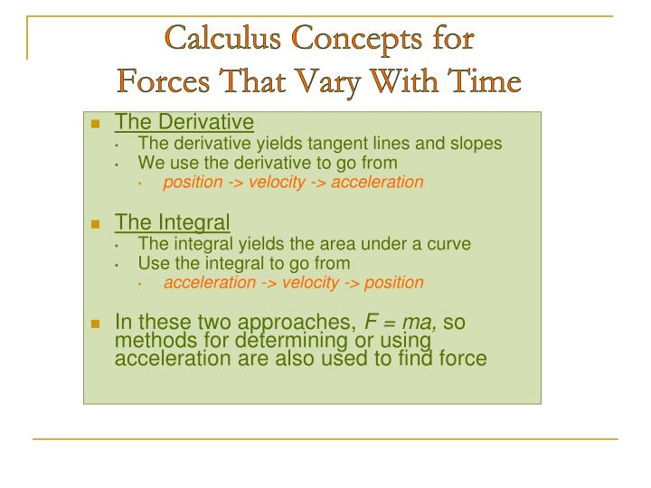 Calculus Concepts for