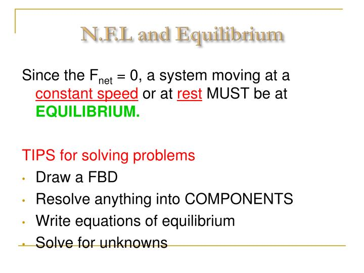 N.F.L and Equilibrium