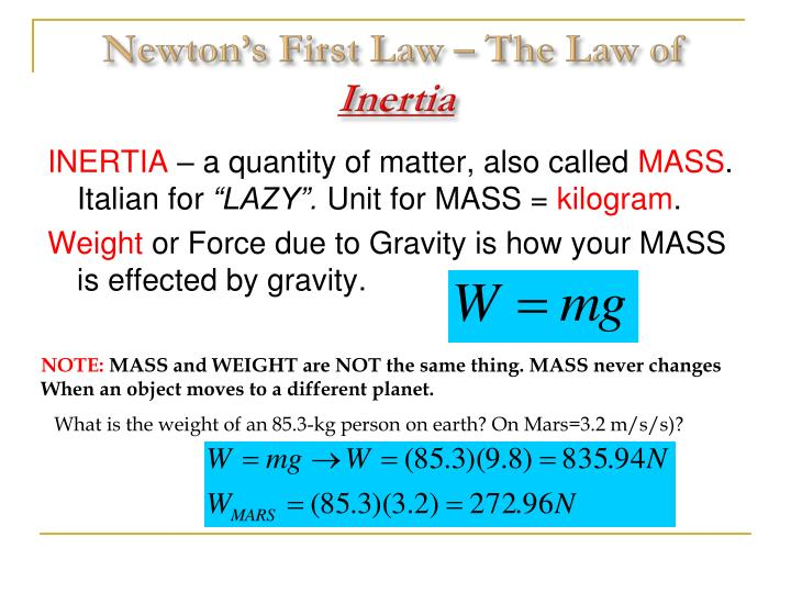 Newton's First Law – The Law of