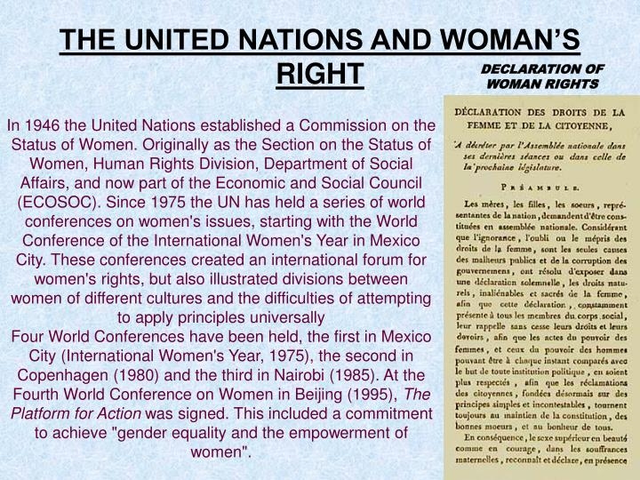 THE UNITED NATIONS AND WOMAN'S RIGHT