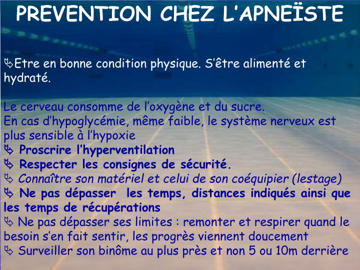 PREVENTION CHEZ L'APNEÏSTE
