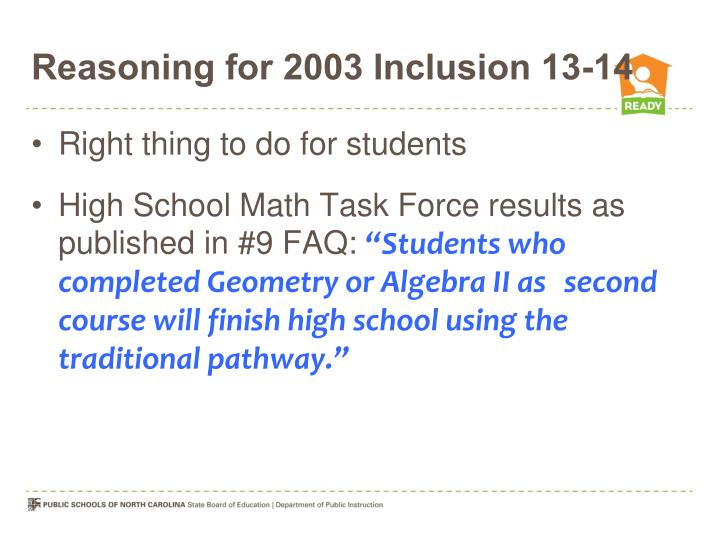 Reasoning for 2003 Inclusion 13-14