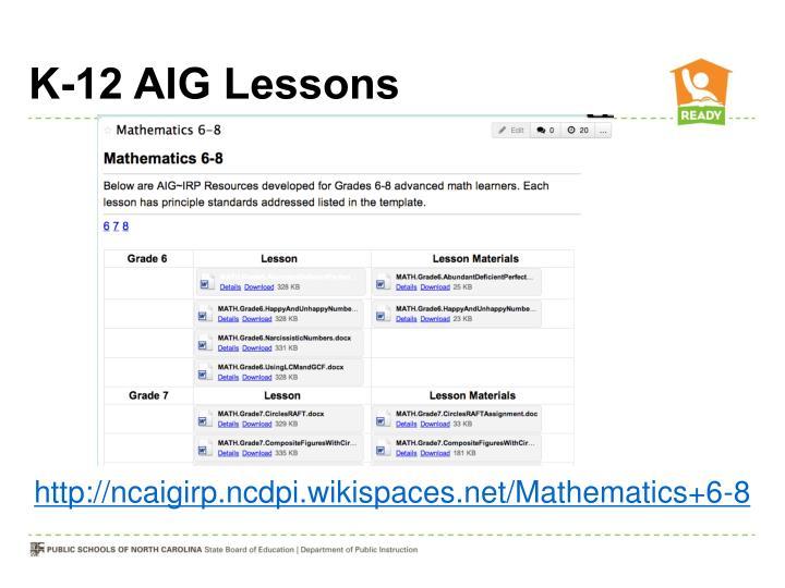 K-12 AIG Lessons