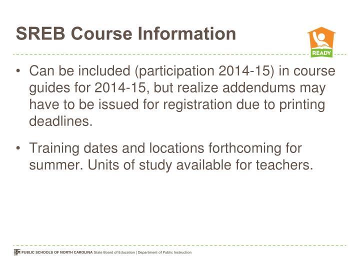 SREB Course Information