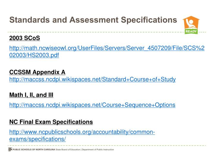 Standards and Assessment Specifications